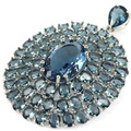 Long Big London Blue Topaz Created SheCrown Engagament   Silver Pendant 55x42mm
