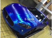 Premium Matt Brushed Chrome Blue Car Vinyl Film Bubble Free For Car Wrapping