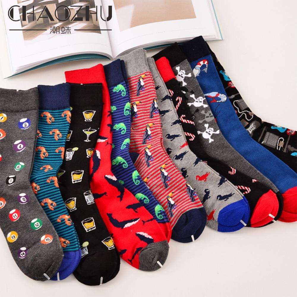 CHAOZHU 11-13 Big Size Men's Socks Fashion Cotton Casual Long Warm Winter Autumn Jacquard Fancies Daily Style Boy Awesome