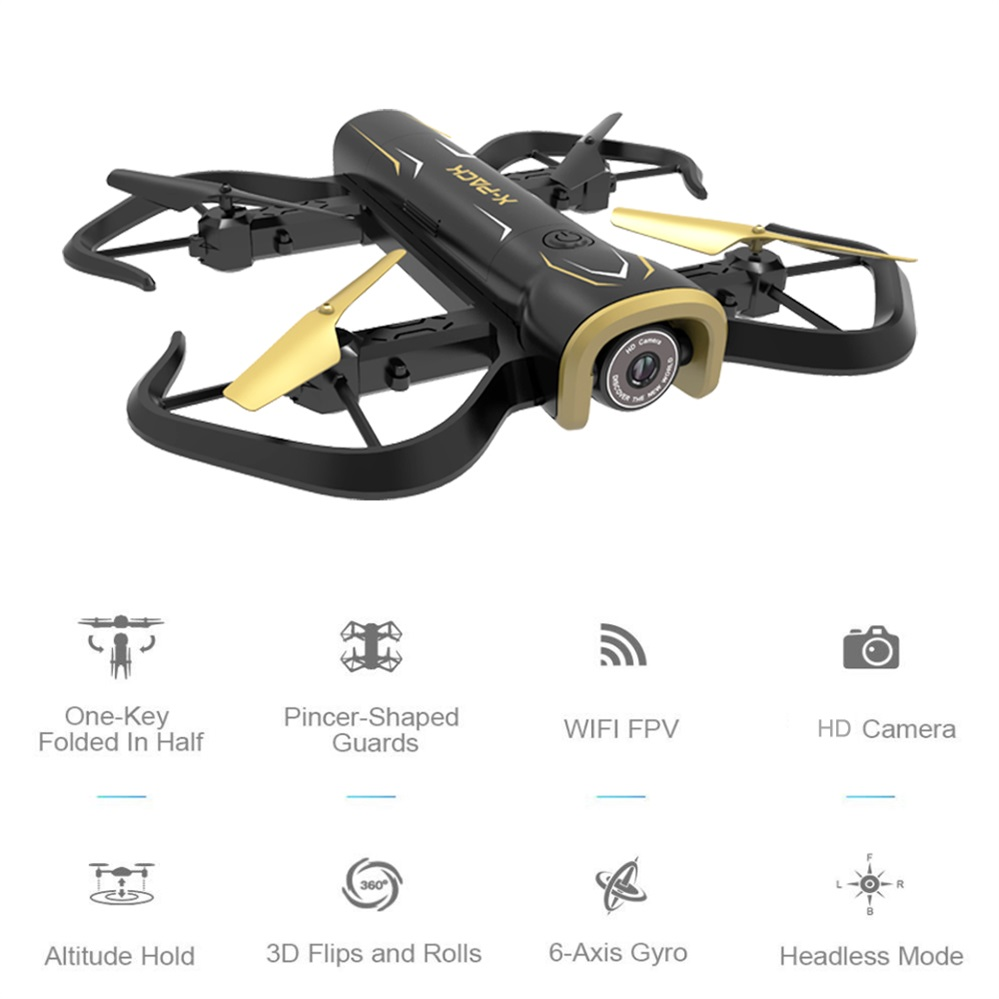 Mini Selfie Drone with Camera HD WIFI FPV Altitude Hold Black Foldable Quadcopter Easy to Fly VS JJRC H43wh H37 H47 Drone jjrc h47 2017 new elfie plus mini selfie drone with camera hd 720p wifi fpv gravity sensor altitude hold foldable quadcopter