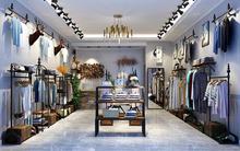 Loja de roupas display rack, rack PISO Tipo retro, femininas, prateleira parede