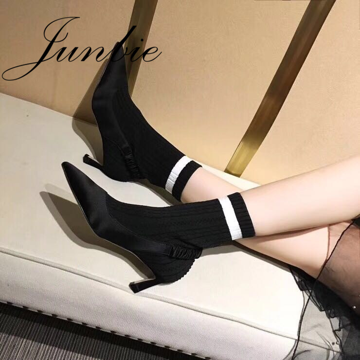 JUNBIE New Socks Boots Hot Ladies 5.5cm Thin HIgh Heel Street Style Women Autumm Winter Boots Boots Shoes Women