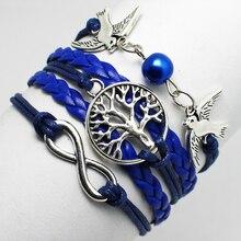 Fashion Jewelry Infinity Unisex rope multilayer braided alloy bird little tree dark blue bracelets bangles fashion chain jewelry