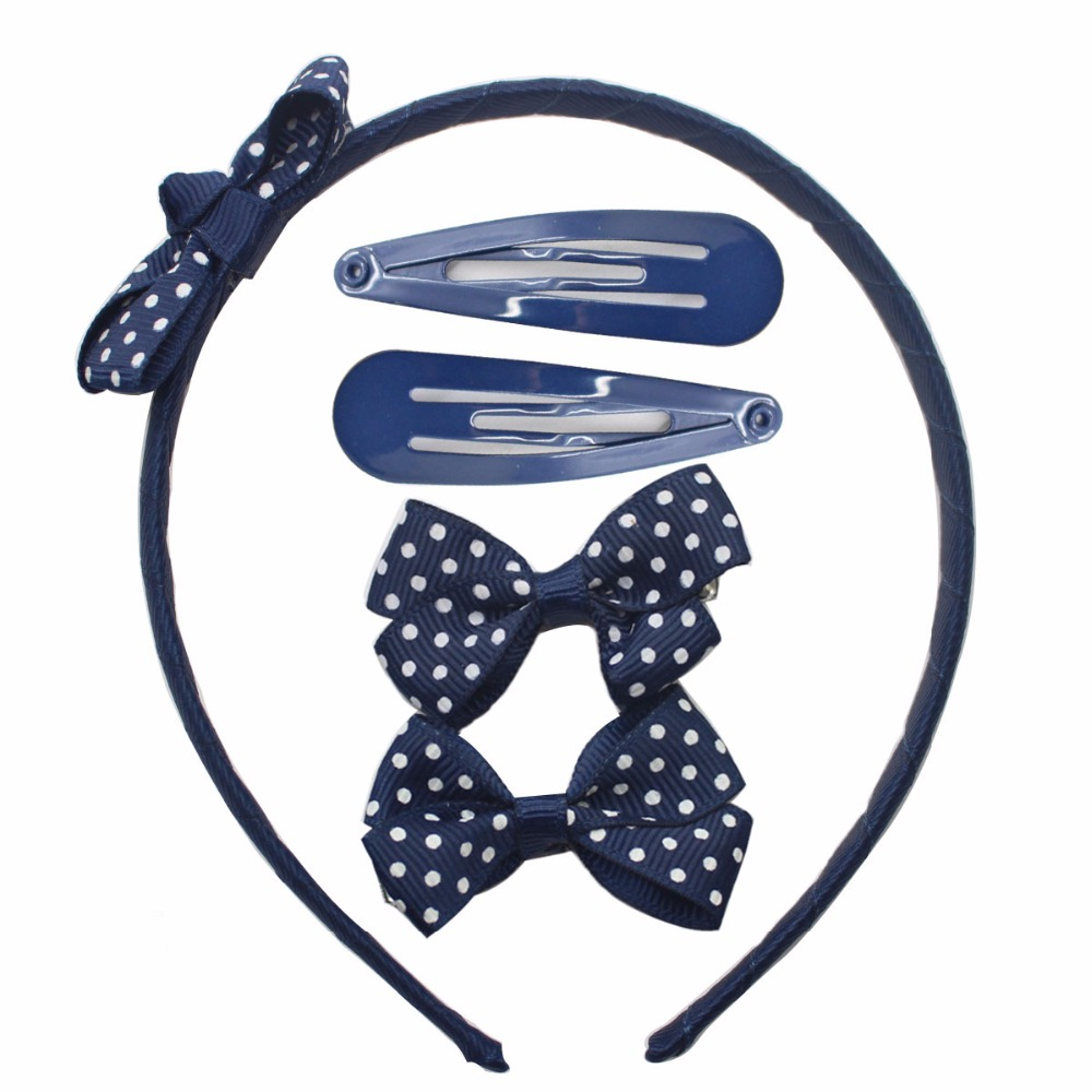 Wholesale 5 pcs/lot dark blue hairpins&duck clips&hairbnads bow-knot hairpins white dot fashionable hair accessories for girls napapijri guji check dark blue