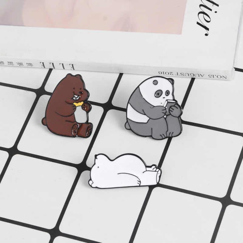 Animale Del Fumetto Spille Bare Bears Sveglio Dell'orso Grigio Panda Orso di Ghiaccio denim Smalto Spilli Kawaii Risvolto Spille badge Regali di Moda