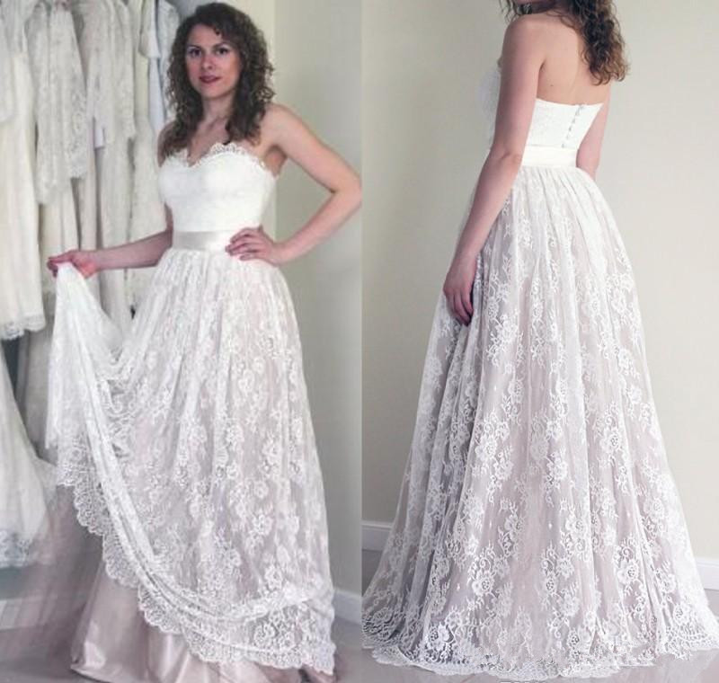 2019 Lace Summer Boho Wedding Dress Vintage A Line Sleeveless Backless Reception Bridal Gown Wedding Gown Plus Size Weddings & Events