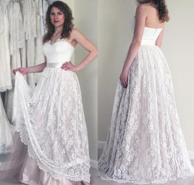 2019 Lace Summer Boho Wedding Dress Vintage A Line Sleeveless ...
