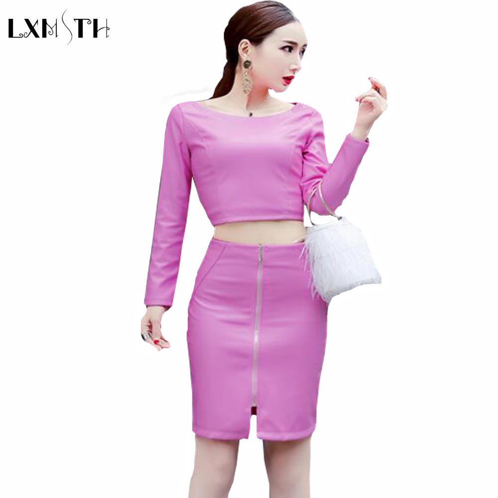 2018 Sexy Pu Faux Leather Skirt Suit Women Long Sleeve Leather Crop Tops Skirt Sets 2