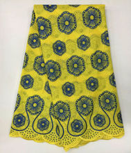 2017 Latest African Cotton Swiss Voile Lace Fabric With Rhinestones High Quality Embroidery African Tulle Lace In Switzerland