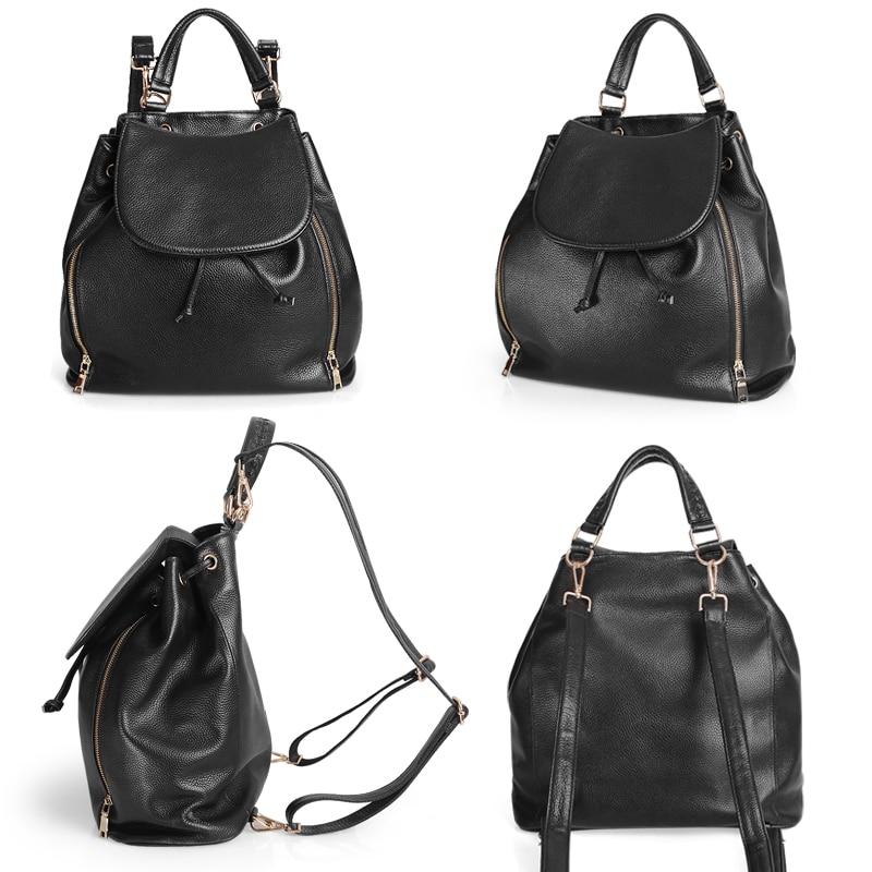 Cobbler Legend Genuine Leather Travel Backpack Women Black Bag Waterproof Girl Backpack