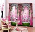 Современные роскошные китайские 3D розовые озеро Лебедь фото затемненные шторы для постельных принадлежностей гостиной гостиничные шторы ...