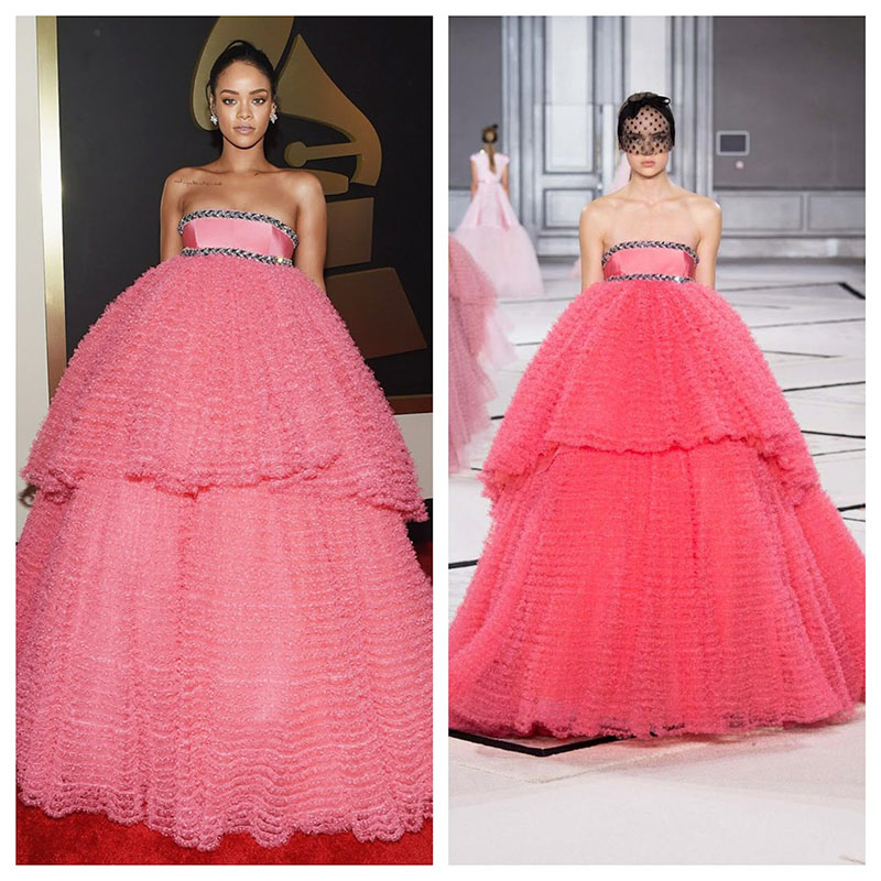 Pink Rihanna Dress Illusion Formal Dresses Celebrity Evening Gowns