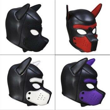 Marke Neue Latex Rolle Spielen Hund Maske Cosplay Volle Kopf Maske mit Ohren Gepolstert Gummi Welpen Cosplay Partei Maske 10 farben Mujer