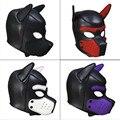 Nova marca de moda acolchoado látex borracha role play cachorro máscara cosplay cabeça cheia com orelhas 10 cores