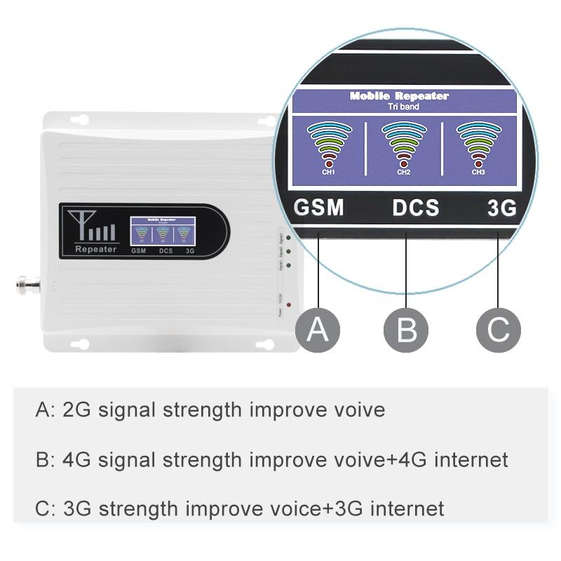 Signal d'appoint à trois bandes pour téléphone portable 4g LTE 1800 mhz 900 mhz 2100 mhz dcs gsm wcdma réseau de communication léger 70dB 2 pièces # - 2