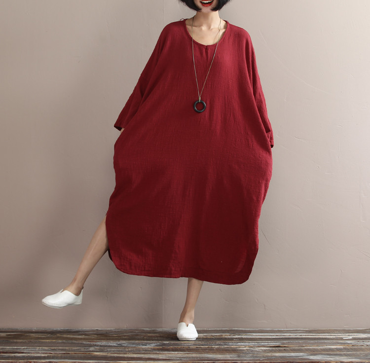 Nye vårkjoler for bomullshåndklær i løs bomull erme stor - Kvinneklær - Bilde 5