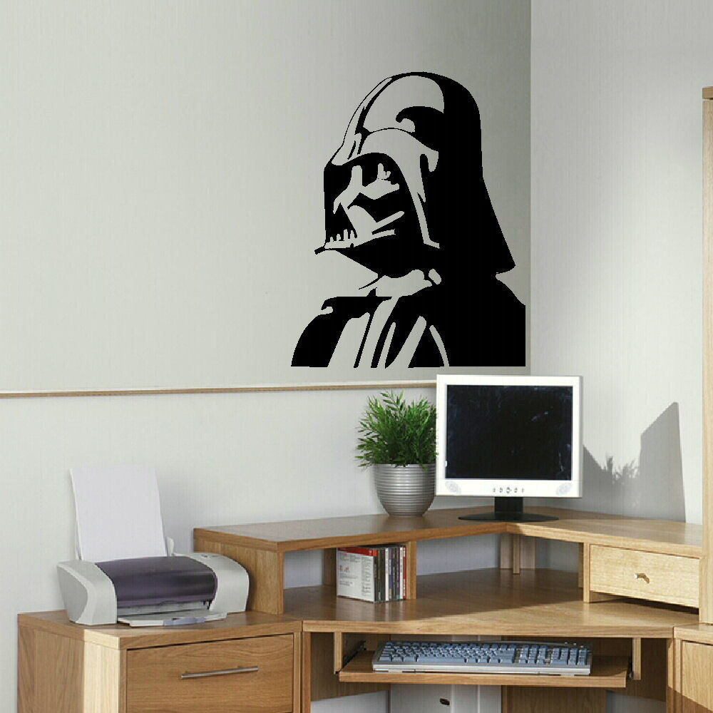 D318 LARGE DARTH VADER STAR WARS KITCHEN BEDROOM WALL MURAL STENCIL  TRANSFER DECAL Mural For Boys