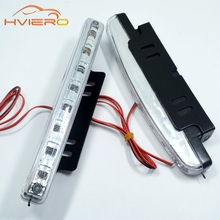 New 1pcs Car Daytime Running Light 8 LED 8smd DRL Daylight Kit Super White Head Lamp Parking Car Fog Lights 12V DC free shipping