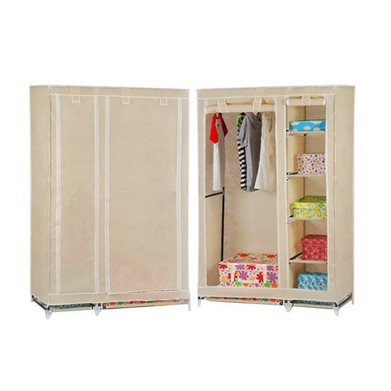 Double triple canvas wardrobe cupboard hanging clothes - Bedroom furniture for hanging clothes ...