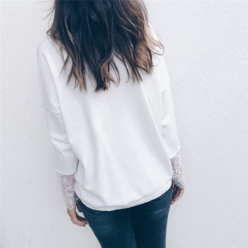 Camicette Suelta Estilo Mujer cuello Moda Blusa Manga N Pullover De Blanco Blusas Top Tops Sólido Camisetas Encaje V Y 2018 Y25 Larga nUnS6dgX