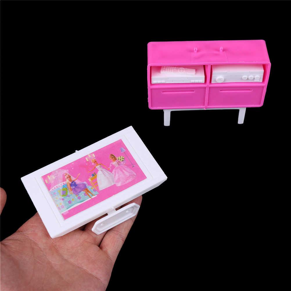 TOYZHIJIA 1 Stuks 1/6 Schaal Voor Pop Poppenhuis Meubelen Roze Met Witte Plastic Play TV Stand Kast