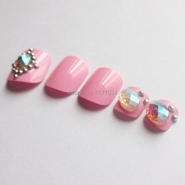 New Brand Pink Series 3d Design Delicate Diamond False Toe Nail Art