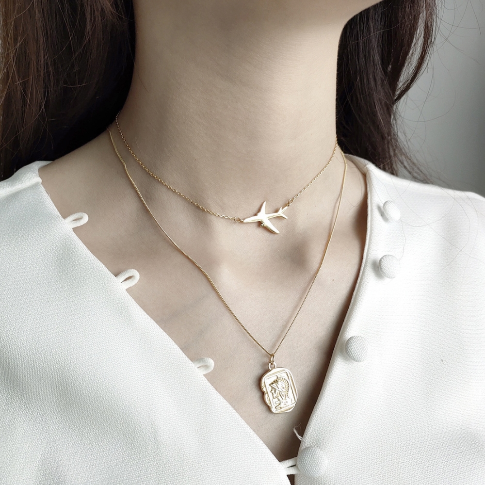 Leven Fancy 925 Sterling Silver Minimalist Gold Aircraft Airplane Plane Layered Chorker Necklace Handmade Dream JewelryLeven Fancy 925 Sterling Silver Minimalist Gold Aircraft Airplane Plane Layered Chorker Necklace Handmade Dream Jewelry