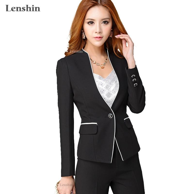 Lenshin 2 Pieces Set Formal Pant Suit Women Office Lady Work Wear Elegant Business Uniform Style Jack With Trouser