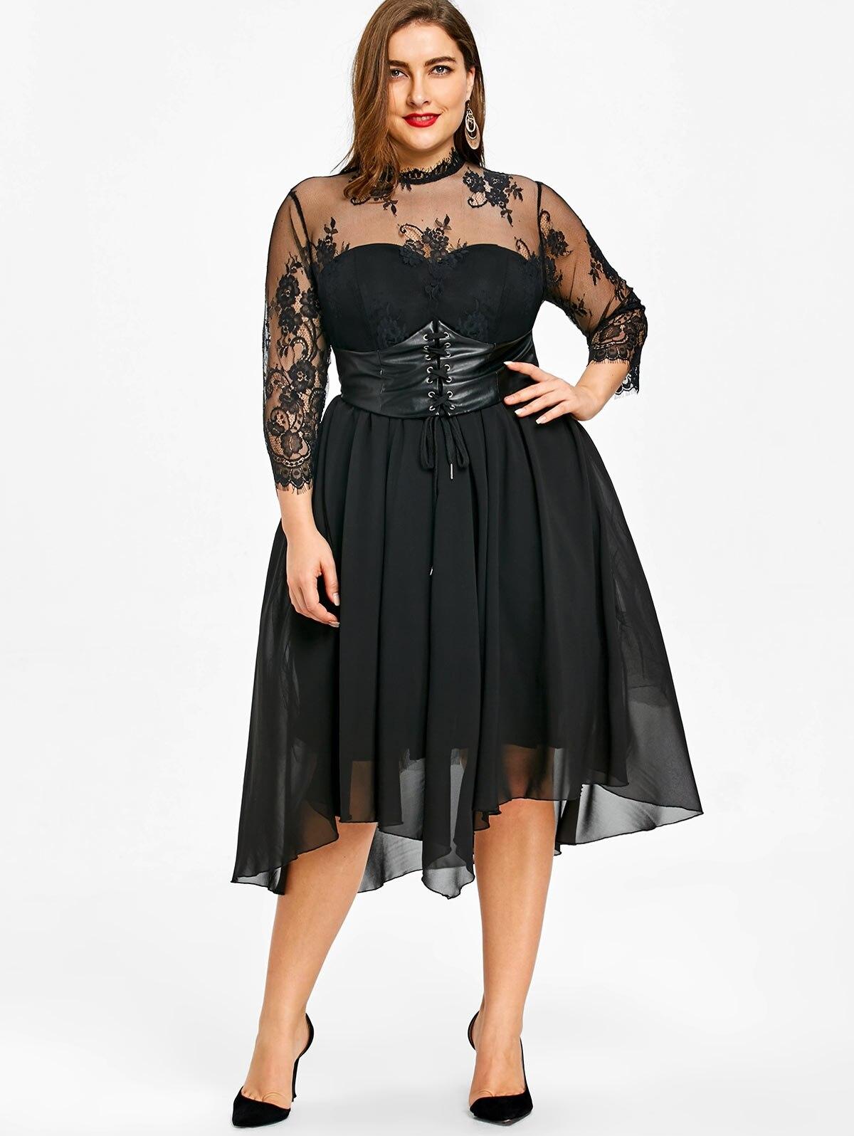 Gothic Criss Cross Panel Lace Plus Size Dress Women Empire Waist Sexy Party Dress Big Size 3XL 4XL 5XL robe femme empire waist criss cross front casual dress