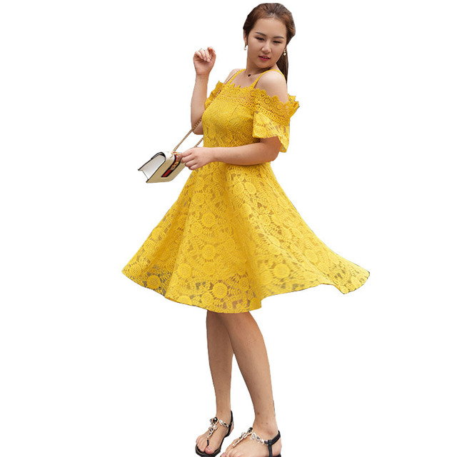 High Quality Women Plus Size Dress Summer Mustard Color Lace Flare ...