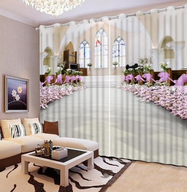 HD Elegant 3D Window Curtain High Precision Roman Curtain Fashion Beautiful  Church 3D Curtain Bedroom
