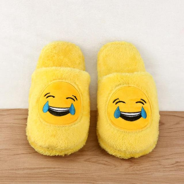 Women Man Slippers Unisex Emoji Shoes Cute Cartoon Slipper Warm Cozy Soft Cotton Stuffed Household Home Indoor Shoes Flats 36-45