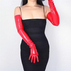 Image 3 - 70cm ארוך במיוחד עור כפפות אמולציה עור Slim יד סקסי נשי גדול אדום פטנט עור אדום נשים כפפות WPU09 70