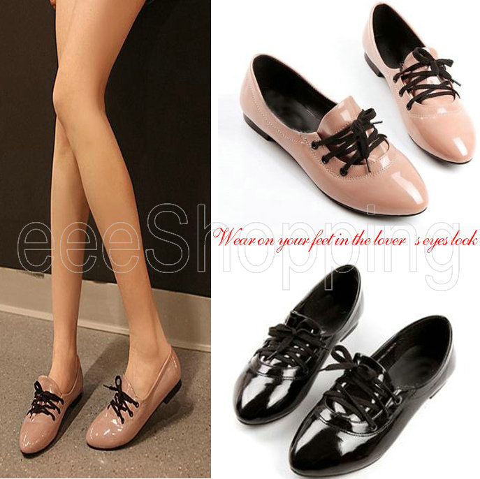 O033 New Womens Ladies Faux Leather Pointed Toe Dance Comfy Flats Loafers  Lace up Shoes Casual Oxfords Solid Design Black Pink-in Women's Flats from  Shoes ...