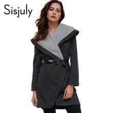 Sisjuly женщины пальто зима осень черный пальто куртки женщин с длинным рукавом мода slim пальто с поясами 2017 верхняя одежда пальто(China (Mainland))