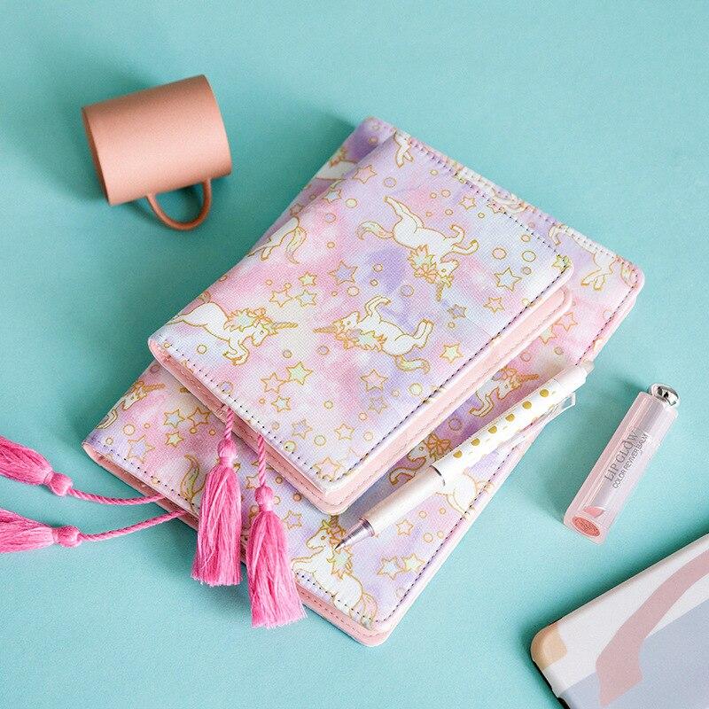 1 Stücke Pu Leder Abdeckung Planer Notebook Mädchen Rosa Einhorn Tagebuch Buch Übung Zusammensetzung Bindung Hinweis Notizblock Geschenk Schreibwaren