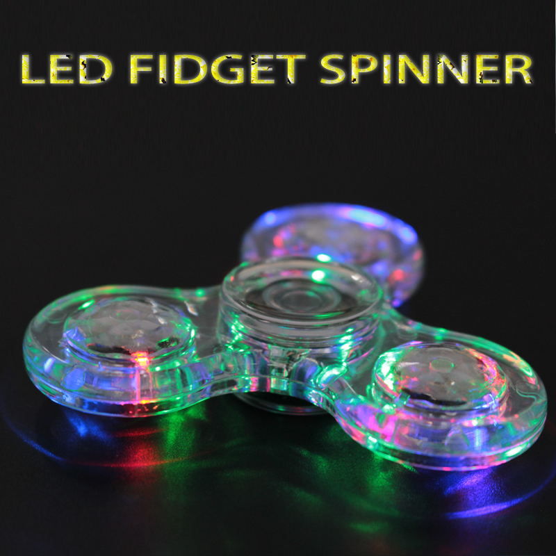 Dazzle Colour Crystal Triangle ABS Plastic Spinner Hand EDC Toys fidget spinner led Flash Top Spiner