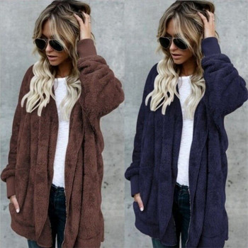 S 5XL Faux Fur Teddy Bear Coat Jacket Women Fashion Open Stitch Winter Hooded Coat