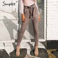 Simplee Suede High Waist Pencil Pants Capris Women Bottom Sash Streetwear Casual Pants 2017 Autumn Chic