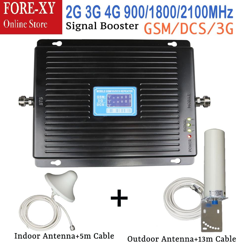 Nouveau 2G 3G 4G Tri bande amplificateur de Signal de téléphone portable 75dB GSM répéteur 3G WCDMA UMTS 2100 4G LTE 1800 amplificateur antenne ensemble pour la maison