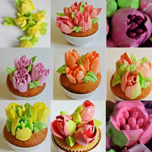 7 pz In Acciaio Inox Fondente Cupcake Glassa Piping Punte Set Russo Pasticceria Ugelli Rosa A Forma di Tulipano Torta Che Decora Gli Attrezzi