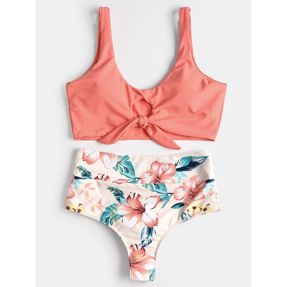 Knotted Floral Scrunch Bikini High Waist Swimwear Women Swimsuit Print Bathing Suit 2018 New Swimming Suit Maillot De Bain