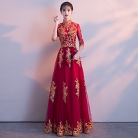 48ce71beb RED Traditional Chinese Wedding Gown Cheongsam Long Qipao Bride Traditions  Classic Women Dress Oriental Dresses Vestido