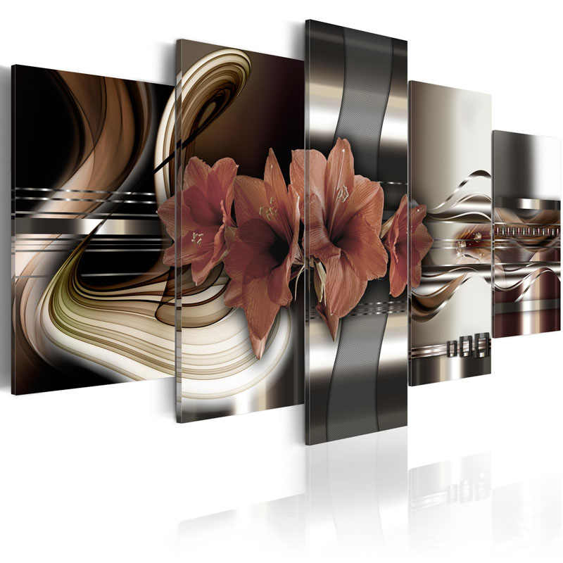 5 Pieces HD Canvas Painting Wall Art Exquisite background with lily flowers Decorative Paintings Wall Art Framed PJMT- (15)