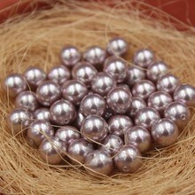 Purple Color Nice Quality South Sea Oyster Shell Pearls Half Drilled Loose Pearls, 50pcs/lot
