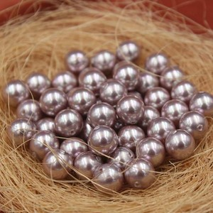 Image 1 - Purple Color Nice Quality South Sea Oyster Shell Pearls Half Drilled Loose Pearls, 50pcs/lot
