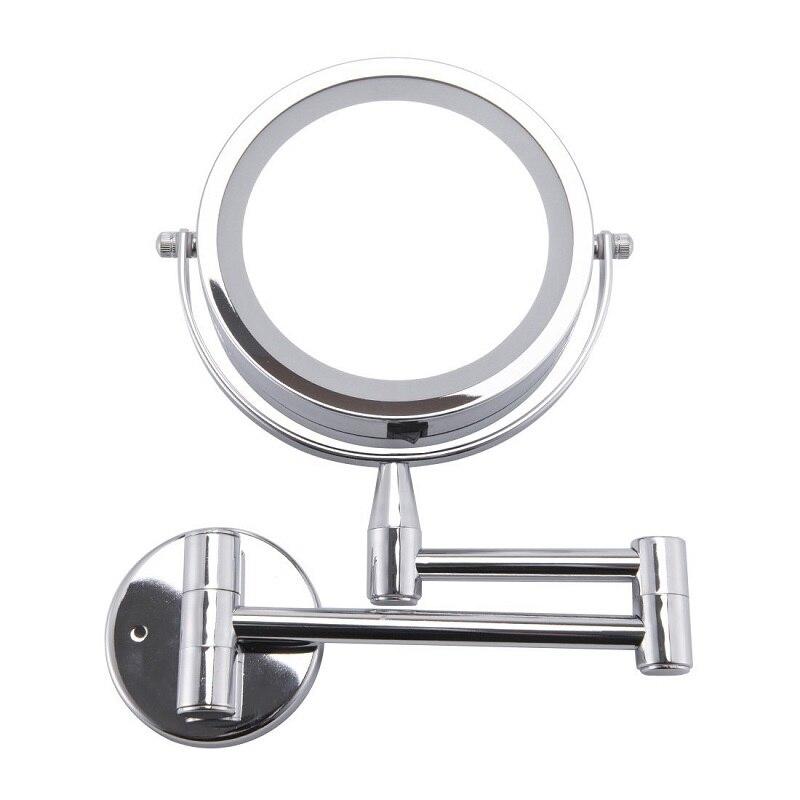 Espelho do banho Espelho de Maquilhagem Led 1X/3X Ampliação Parede Ajustável Montado Espelho de Maquiagem Duplo Braço Estender 2-Face Espelho Do Banheiro