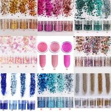 10ml/Box 4pcs Nail Art Glitter Set 3D MIX Fine Powder Sequins For Gel Polish 200colors Sets