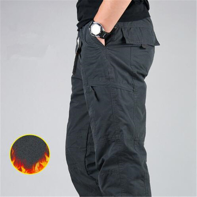 Men's Cargo Pants 2019 Winter Casual Warm Thicken Fleece Pants Men Cotton Multi Pockets Combat Military Baggy Tactical Pants 2