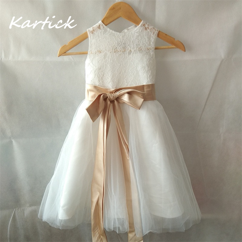 New Flower Girl Dresses For Wedding Little Girls Kids/Children Dress Lace Crepe Keyhole Party Pageant Communion Dress